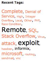 vulnerability tag cloud